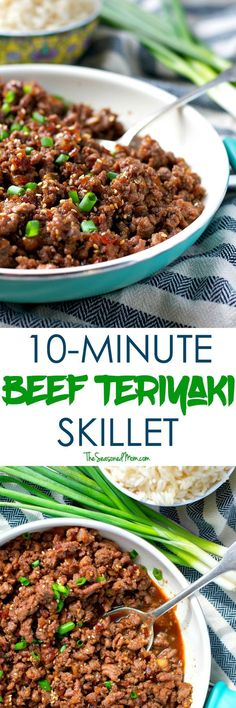 You only need 5 ingredients and about 10 minutes to pull together an easy BEEF TERIYAKI SKILLET! Ground Beef Recipes | Easy Dinner Ideas | Dinner Recipes | Healthy Dinners | Healthy Dinner Recipes