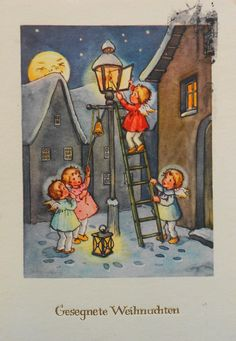 Lieselotte FABIG DISTLING - 4 ENGEL zünden Strassenlaterne an, Mond lacht - 1954 | eBay