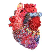 embroidered and beaded heart by helene manche is part of Anatomical heart art - Embroidered and Beaded Heart By Hélène Manche Illustrationart Heart Heart Anatomy, Anatomy Art, Heart Collage, Heart Art, Diy Broderie, Medical Art, Contemporary Embroidery, Anatomical Heart, Human Heart