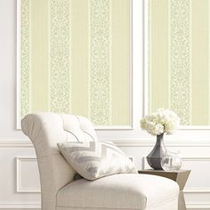 Classically Decorated Stripe Wallpaper. Balmoral wallpaper book by Wallquest. http://lelandswallpaper.com