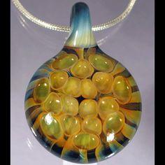 SALE Blown Glass Pendant - Golden Honeycomb Lampwork Necklace Focal by Glass Peace $15.00