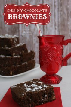 chunky chocolate brownies with nuts recipe! easy christmas recipe for the holidays!