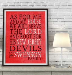 "New Jersey Devils hockey inspired Personalized Customized Art Print- ""As for Me"" Parody- Unframed Print"