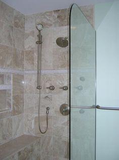 Rounded edge glass, partial wall, no door love this! Bath Design, 2nd Floor, Shower Doors, Glass Door, Master Bath, Door Handles, Bathtub, Flooring, Remodels