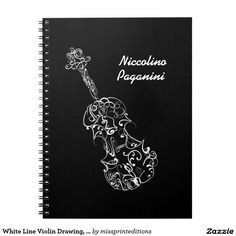 White Line Violin Drawing, Customizable Name