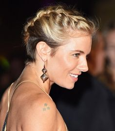 Sienna Miller's Hair: Tousled Double Braids.