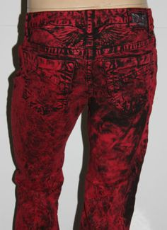 5e5f84c5 New Mens Robin's Jean SZ 32 Style #SP5471 MARLON Slim Fit in RED Acid Wash  Wings