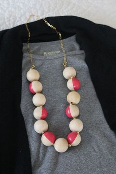 DIY Kate Spade Bead Necklace  Remember my wooden bead necklace from last week? Well, guess what, I made another one! I stumbled on this $128 Kate Spade necklace that was dying to being DIY'd.