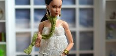 OOAK Repainted Black Hair Made to Move Barbie Wearing Gold Accessories, Green Scarf, and Lace Blouse     Spoiled For Choice: Delicate Spring – PlasticallyPerfect #SpringOOTD #Lace #BarbieStyle #PlayscaleStyle #BarbieFashion #OOAKBarbie #CustomBarbie