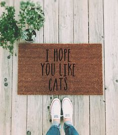 I Hope You Like Cats Doormat – Funny Hand painted Door Mat Quote Unique Cute Home Decor Cats Kitten Crazy Cat Lady Welcome Mat I hope you like cats Doormat ▽▽▽ Handpainted with permanent outdoor Acrylic Paint. Size: 18 x 30 x approximately thick. Crazy Cat Lady, Crazy Cats, Entry Mats, Front Door Mats, Outdoor Acrylic Paint, Outdoor Paint, Funny Doormats, Cute Home Decor, Welcome Mats