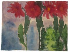 Emil Nolde (German, 1867-1956), Blühende Kakteen [Blooming cactus], 1923. Watercolour on Japan paper.