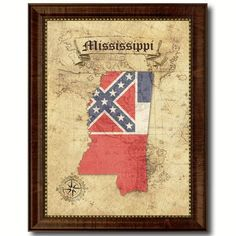 Mississippi State Vintage Map Home Decor Wall Art Office Decoration Gift Ideas