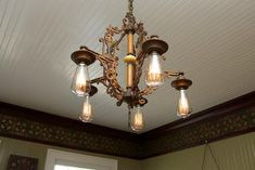 Early 1900 Original light fixture in a Croatan Cottage Sears Kit House Vallonia Plan.