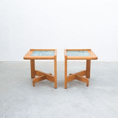 Guillerme et Chambron French Side Tables, circa 1960 Small Tables, Side Tables, Glazed Tiles, Bed Table, Mid Century Modern Design, Hollywood Regency, Midcentury Modern, Bold Colors, Rustic