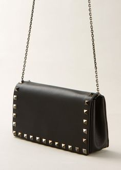 6e34d4d0b6 Valentino Shoulder bags    Valentino black studded leather flap clutch