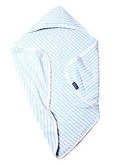 100% Organic Cotton Double Layer Baby Hooded Towel, Receiving Swaddling Blanket, Organic Bath Towel (Aqua)