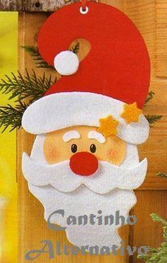 Olá amigos, para quem está atrás de modelinhos de papai Noel, segue as sugestões dos apliques abaixo para confeccionar em EVA ou feltro....