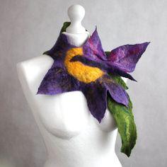 Felted scarf flower butterfly purple green necklace by EsartFelt