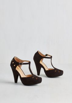 The Zest is History Heel in Black - Black, Solid, Cutout, Embroidery, Vintage Inspired, 40s, Good, T-Strap, Variation