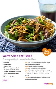 Here's A BUDGET BITE to help you get through the speech - enjoy (n)oodles of savings with this Asian beef salad! Frugal Meals, Budget Meals, Easy Meals, Pasta Recipes, Salad Recipes, Cooking Recipes, Healthy Lunches, Healthy Foods, South African Recipes