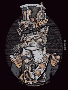 Steampunk Cat Design by DesignedByMonkeys. Steampunk Cat, Steampunk Kunst, Steampunk Animals, Steampunk Cosplay, Steampunk Design, Steampunk Fashion, Steampunk Makeup, Steampunk Dress, Steampunk Goggles