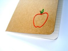 embroidered apple journal kraft moleskine - very sweet and useful Great Teacher Gifts, Teacher Appreciation Gifts, Moleskine Notebook, Book Crafts, Christmas Decorations, Journal, Embroidery, Unique Jewelry, Handmade Gifts