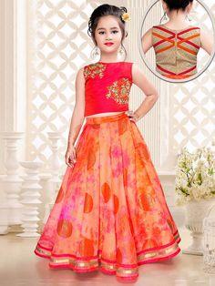 Orange Kota Silk Designer Choli Suit