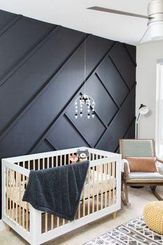 Unique, modern take on nursery. Black statement wall with element. Nursery Themes, Nursery Room, Bedroom Wall, Themed Nursery, Accent Wall Nursery, Nursery Ideas, Nursery Grey, Nursery Modern, Bedroom Boys