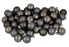 """$19.99-$49.99 96ct Gunmetal Gray Shatterproof 4-Finish Christmas Ball Ornaments 1.5"""" (40mm) - Gray Color Themed Christmas Ornament Club Pack  Item #N595427A 96-piece set  Color: gunmetal gray  These dazzling ornaments are done in 4 amazing finishes: shiny, matte, glitter drenched, and holographic glitter sparkle. This special club pack will allow you to build your collection quickly and decorate ..."""