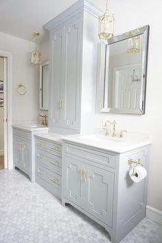 Grey Bathroom Cabinets, Hall Bathroom, Upstairs Bathrooms, Bathroom Renos, Washroom, Bathroom Closet, Bathroom Goals, Master Bathrooms, Grey Cabinets