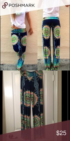 Multicolored Boho Pant I accept/offer bundles❤️, 92% polyester and 8% spandex, super cute and comfortable, NEVER WORN Pants Boot Cut & Flare