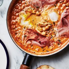 Spicy Creamy Chickpeas with Runny Eggs and Prosciutto