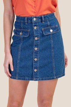 7e7beb44ba Missguided Orange Stretch Denim Mini Skirt in 2019 | Products ...