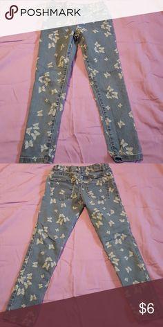 Girl's Jeggings Blue White Butterflies Children's Place Bottoms Jeans