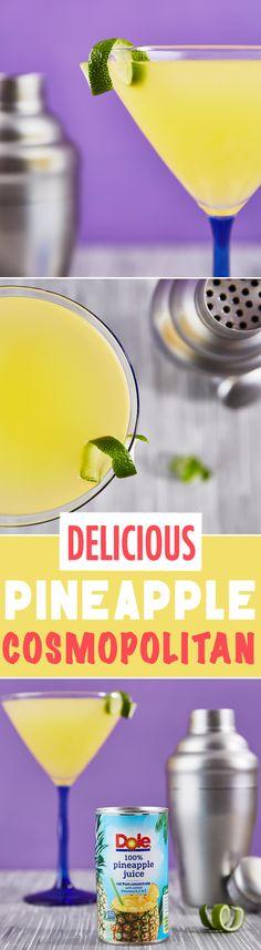 An elegant cocktail with pineapple juice, vodka, elderflower liqueur, and orange liqueur.
