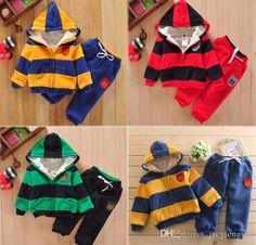 70c805602b53 2018 Baby Clothes Sets Boys Girls Zipper Hoodie Padded Clothes Kids Dress  Boys Clothing Kids Dress Sport Sets Children Cashmere Jacket+Pants D058  From ...