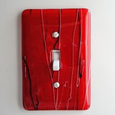 Fused Glass Light Switch Plate - Red Home Decor Wall Art Outlet Cover Switchplate Cover Asian via Etsy