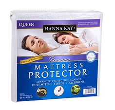Hanna Kay Premium 100% Waterproof Mattress Protector ,Hypoallergenic - 10 Year Warranty Queens Size * Learn more by visiting the image link.