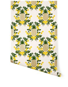 Pineapple (Yellow) rifle paper co wallpaper - my new bathroom!!