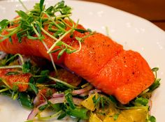 Michael Symon's slow cooked salmon. 200 degrees, 25 minutes, delicious melt in your mouth salmon.