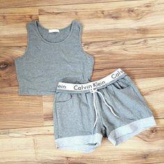 Handmade Calvin klein crop top and shorts OR leggings set Size Guide:  SMALL = UK 6 / 8 MEDIUM = UK 8 / 10 LARGE = UK 10 - small 12 slight stretch