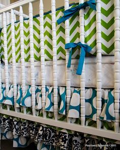 This crib bedding is really cute -- love the mix of chevron stripes and dots!