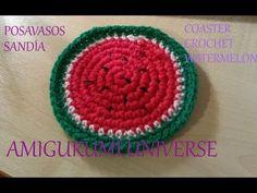 ▶ Tutorial Posavasos Sandía. Coaster Crochet Watermelon (eng sub) by Amigurumi.Universe - YouTube