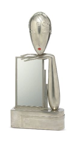Nickeled-metal and enamel table mirror, 1930s, by Franz Hagenauer (1906-1986)