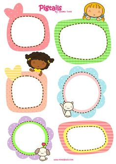 cute kawaii pigtails printables for scrapbook papercraft Cute Frames, Picture Frames, Printable Labels, Free Printables, School Labels, Scrapbooks, Planner Stickers, Envelopes, Gift Tags