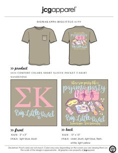 JCG Apparel : Custom Printed Apparel : Sigma Kappa Big Little Reveal T-Shirt #sk #sigmakappa #bigsis #littlesis #greek