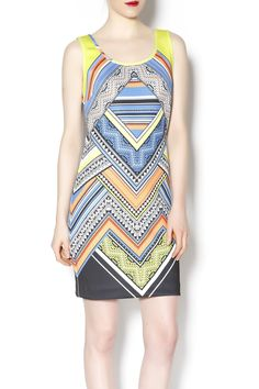 Multicolored neoprene geometric printed tank dress. A perfect weekend dress! Layer a jacket over it or wear it as is with pumps.   multicolored tank dress by Laundry. Clothing - Dresses - Printed Clothing - Dresses Chicago, Illinois