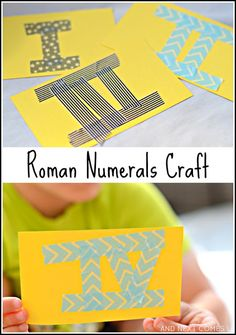 Combine math and art with these kid-made Roman Numerals flashcards - a perfect way to work on fine motor skills while practicing math! from And Next Comes L