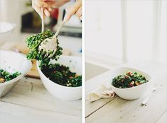 shredded kale salad with tomatoes, olives + feta // via sprouted kitchen