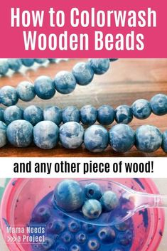 Learn how to colorwash wooden beads with this simple color dyeing method. Colorwashing is a great way to add texture and color to any wood project. How to dye wood. Crafts How to Colorwash Wooden Beads (and all other wood! Fun Craft, Crafty Craft, Craft Ideas, Crafting, Diy Ideas, Wood Ideas, Wood Bead Garland, Beaded Garland, Garlands